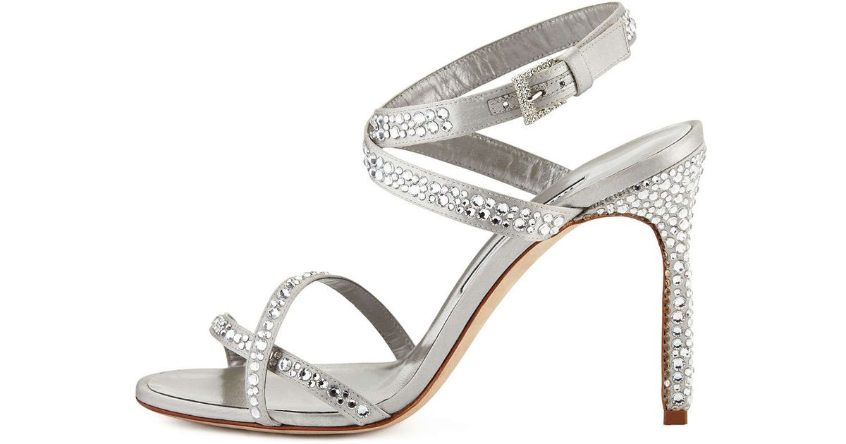 49a7da928c ... Manolo blahnik Kolebibi Satin and Strass Evening Sandal in Metallic | Lyst  Shoes: ...
