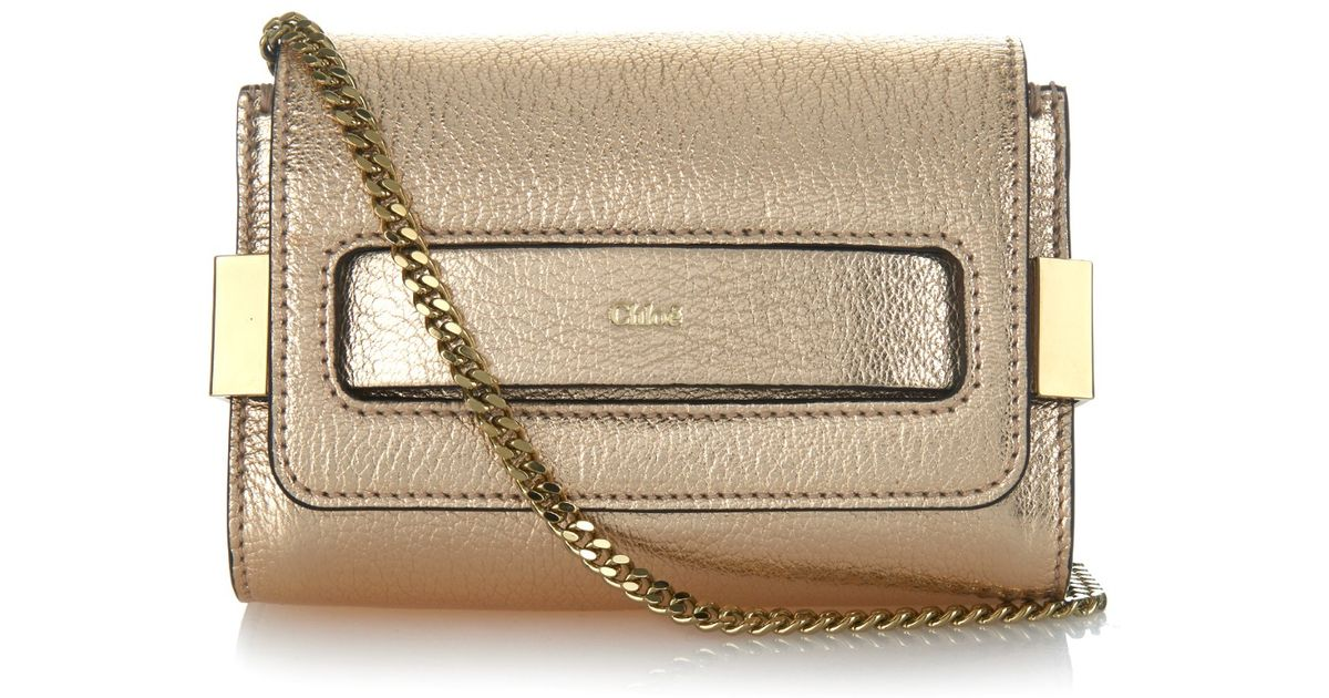 chloe purses prices - Chlo�� Elle Mini Leather Clutch in Gold | Lyst