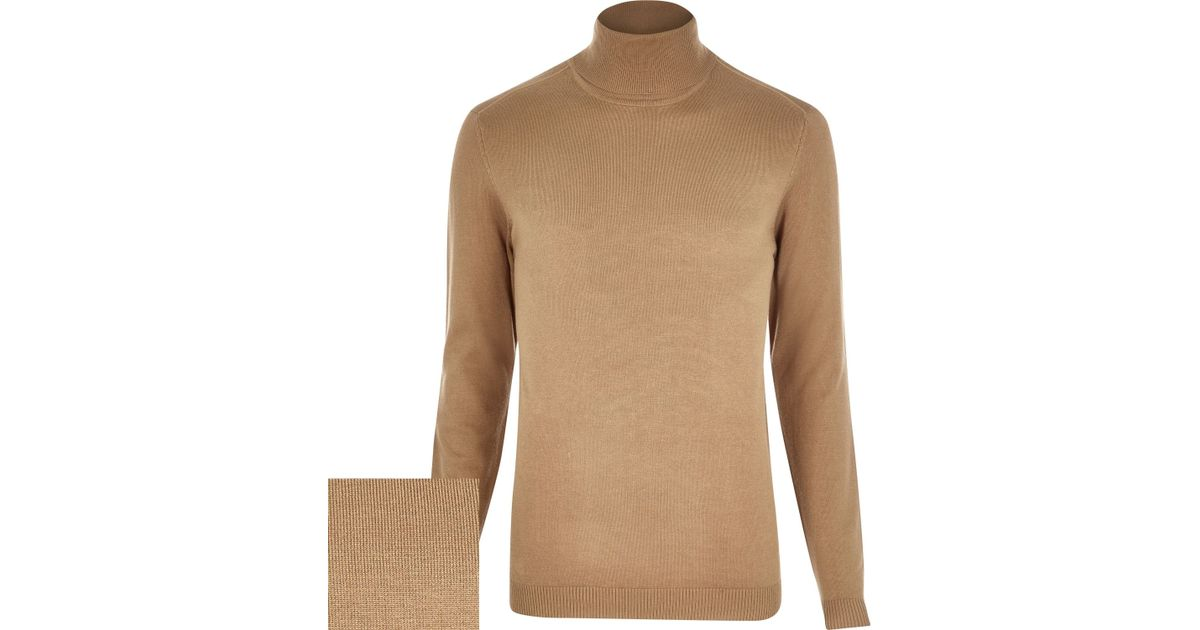 befcf18e3ae0ed River Island Light Brown Roll Neck Sweater in Brown for Men - Lyst