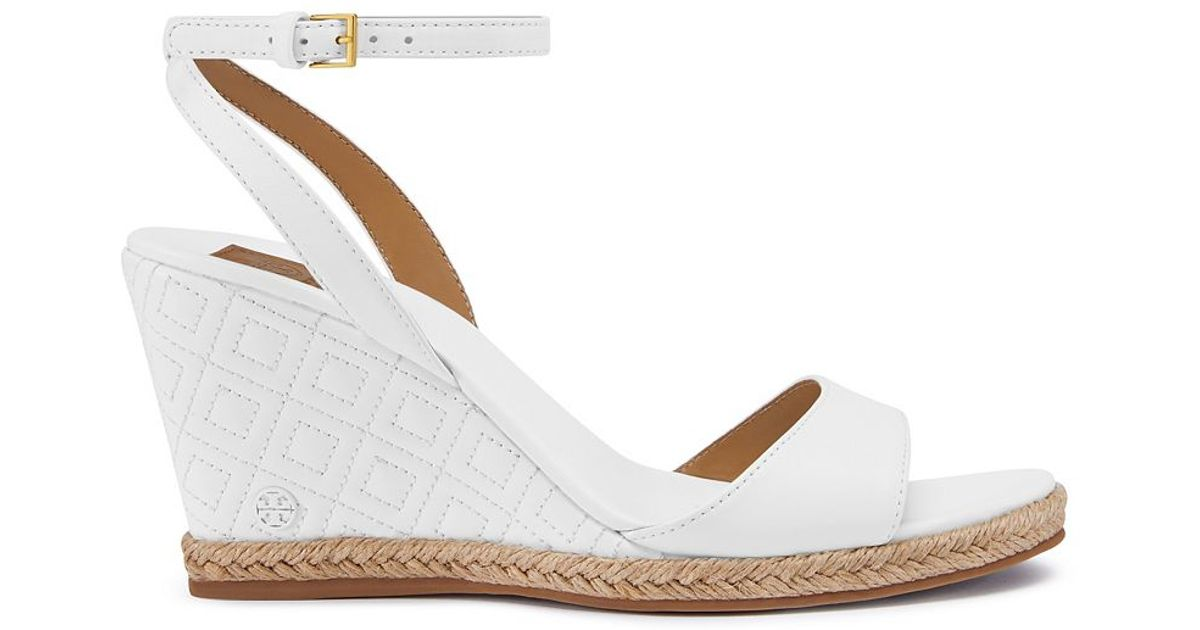 b93800e92c07 Tory Burch Marion Quilted Espadrille Wedge Sandal in White - Lyst