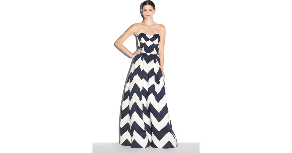 Lyst - Milly Chevron Print Ava Strapless Gown in Blue