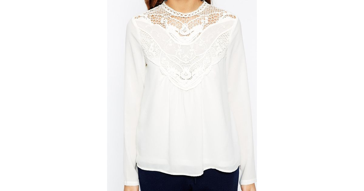 9603f697b06a ... Lyst Vero Moda High Neck Lace Insert Long Sleeve Top in White