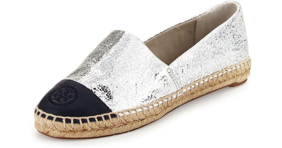 b339817b166 Lyst - Tory Burch Metallic Colorblock Espadrille Flat in Metallic