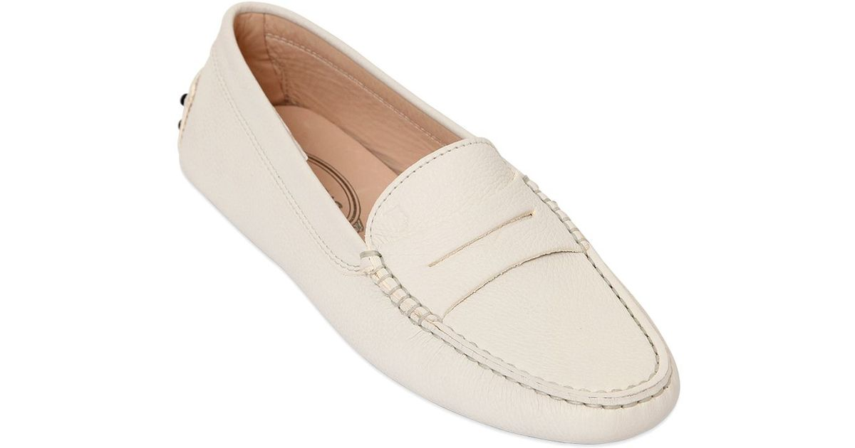 tod s gommino leather driving shoes in white lyst