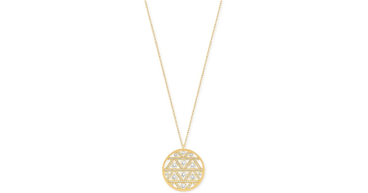 Lyst swarovski gold tone crystal art deco pendant necklace in metallic mozeypictures Image collections