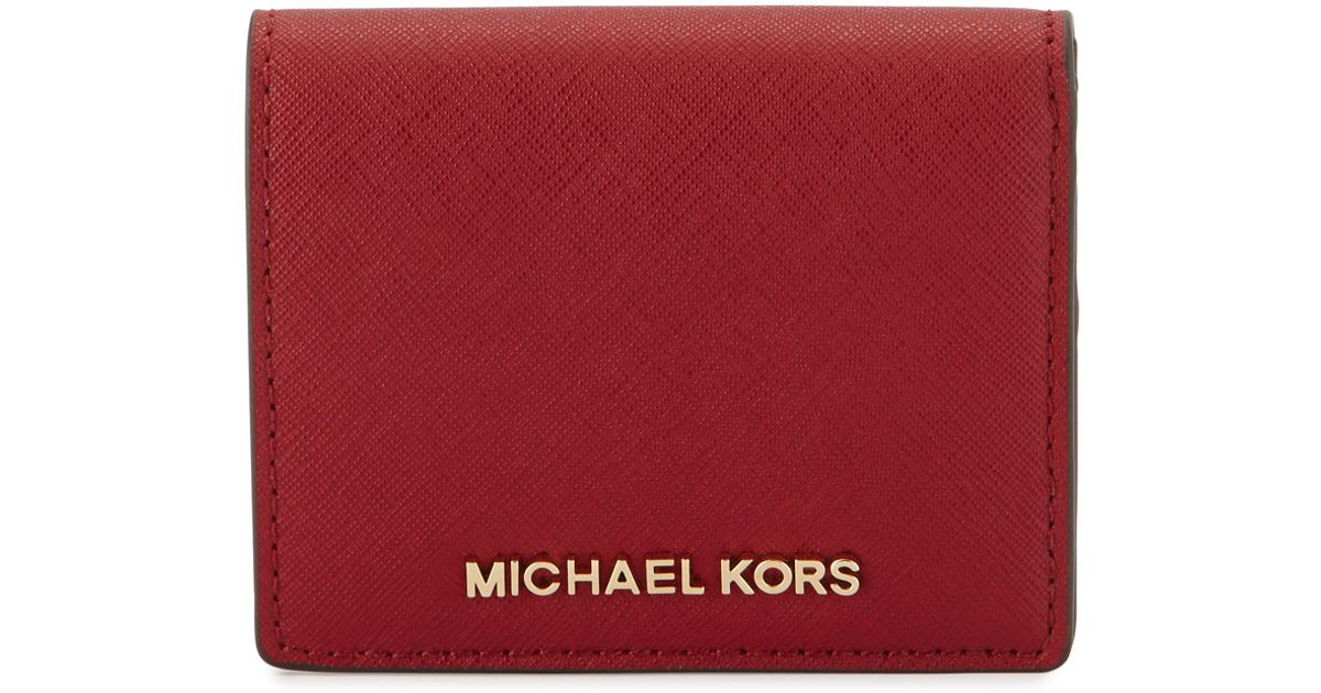 b94c5b31a167 Lyst - MICHAEL Michael Kors Jet Set Travel Flap Card Holder in Red