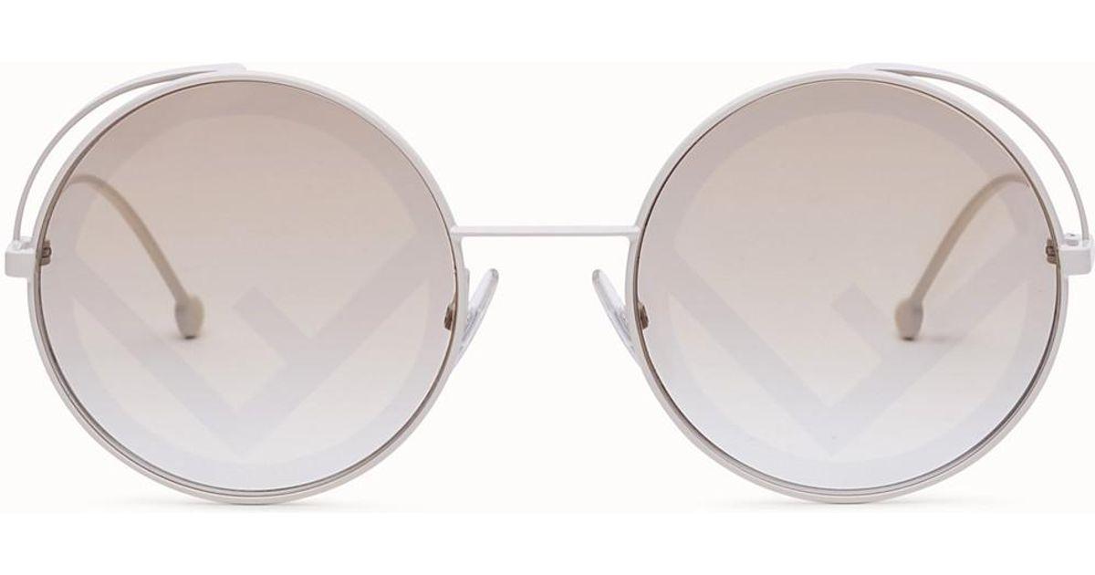 72731f6339cd Fendi Ff 0343/s Round Sunglasses in White - Lyst