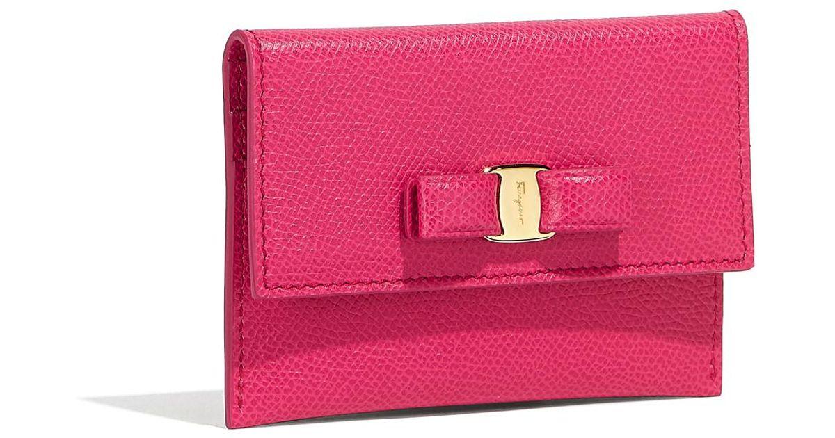eb3244af97 Lyst - Ferragamo Vara Bow Card Case in Pink