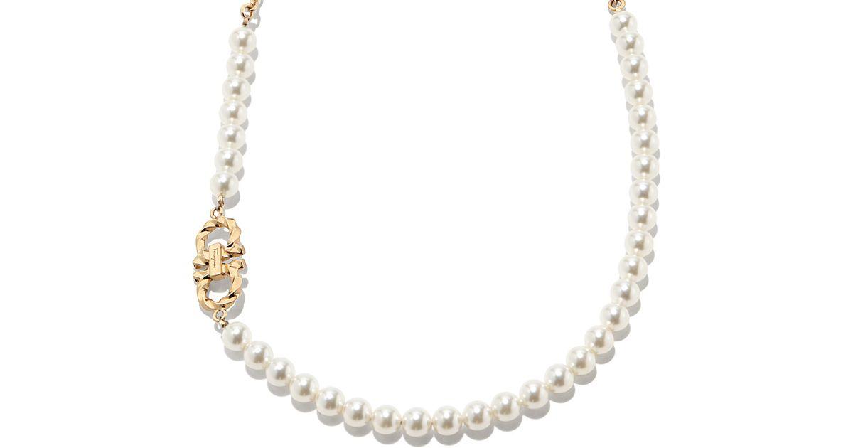 ferragamo pearls necklace in metallic gold lyst