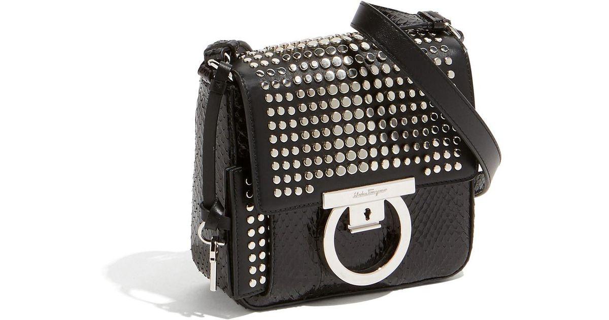 0607e41988 Lyst - Ferragamo Gancini Lock Flap Bag in Black