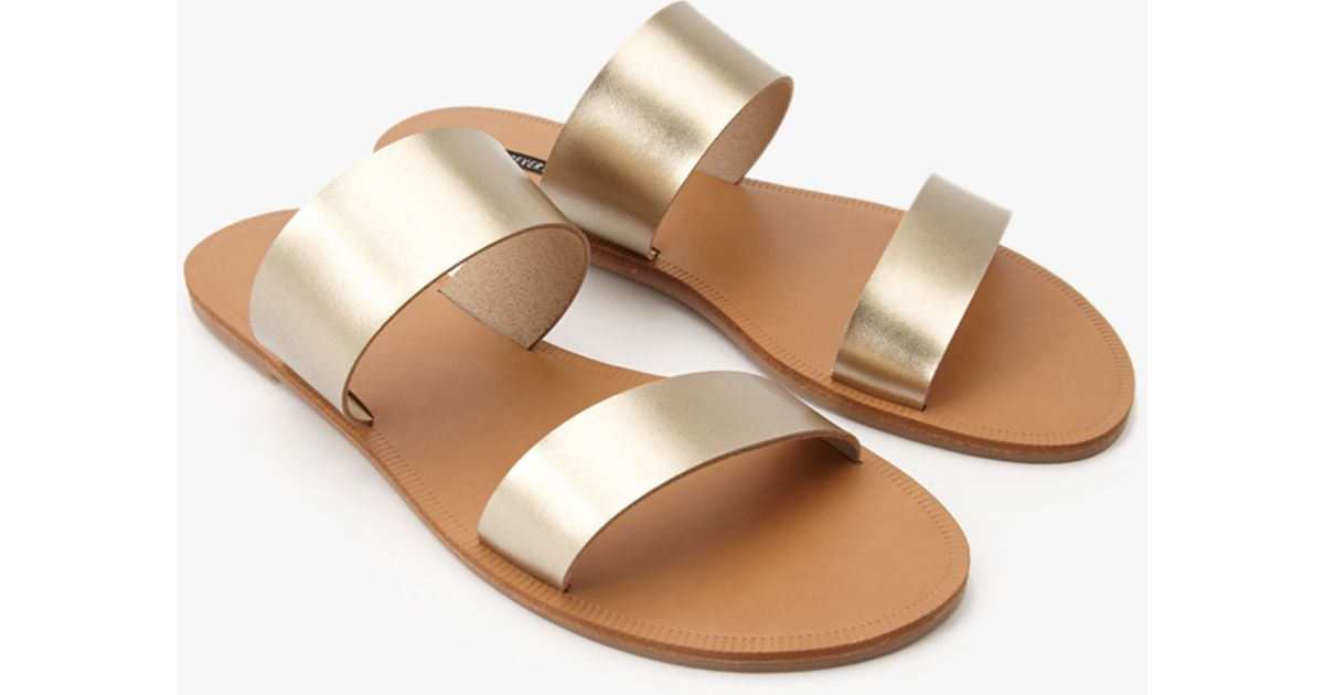 f5a4702f6602 Lyst - Forever 21 Metallic Strap Sandals in Metallic