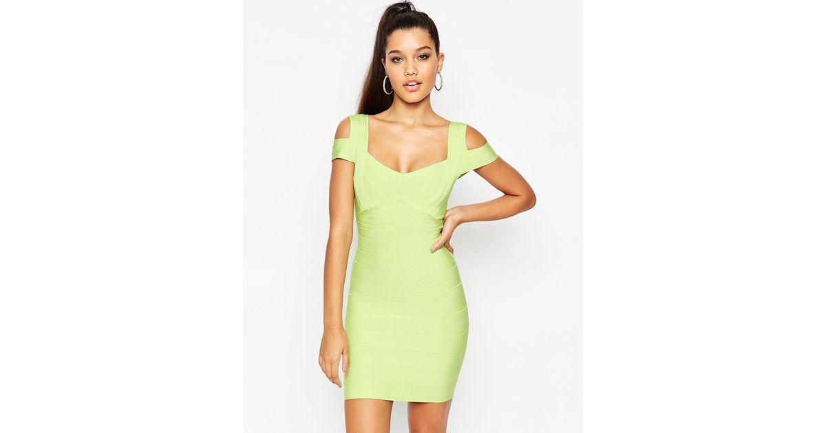 b2f29afae116b6 Lyst - ASOS Sculpt Premium Bandage Off The Shoulder Bardot Double Strap  Mini Dress in Green