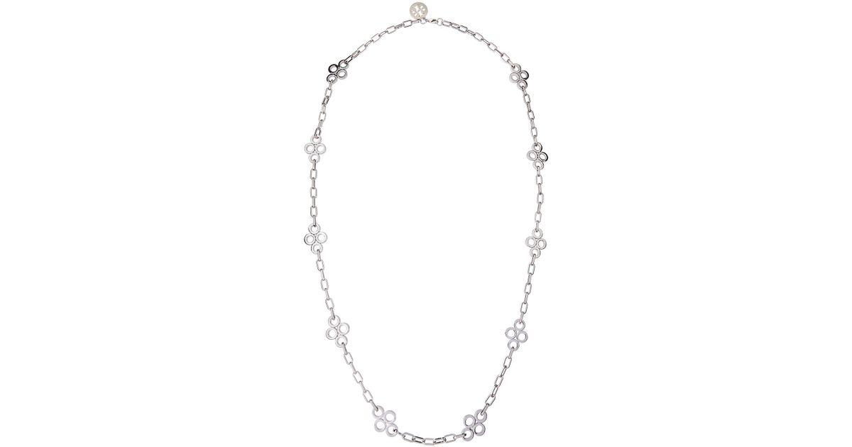 Fabulous Lyst - Tory Burch Long Silvertone Clover Necklace in Green MV19
