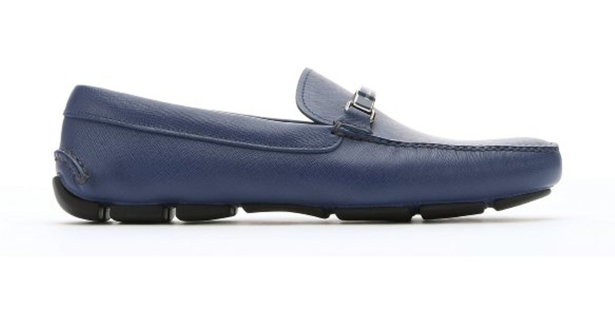 d9f954f466d5 ... cheapest prada bluette saffiano leather logo plate moc toe driving  loafers in blue for men lyst