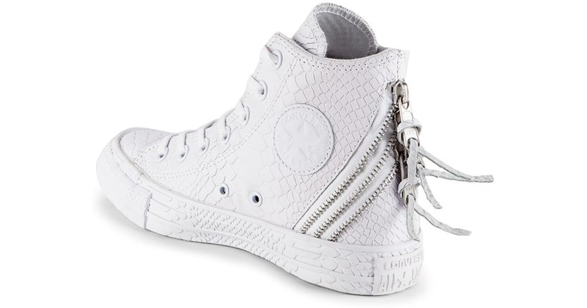 5b858386dbd Converse Women S Chuck Taylor All Star Leather Tri-Zip Hi-Top Trainers-  White in White - Lyst