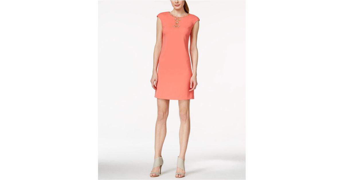 46742b82bc9c Lyst - Vince Camuto Cap-sleeve Rhinestone Sheath Dress in Orange