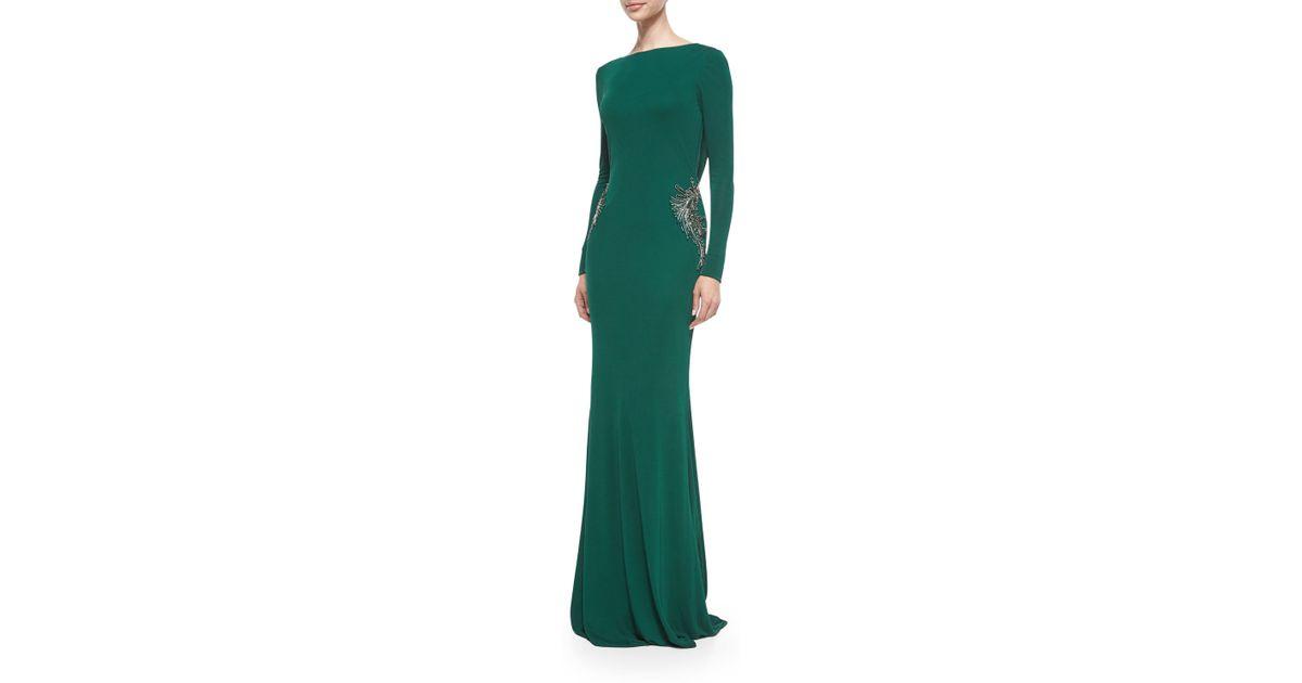 Lyst Badgley Mischka Long Sleeve Draped Back Beaded Gown In Green