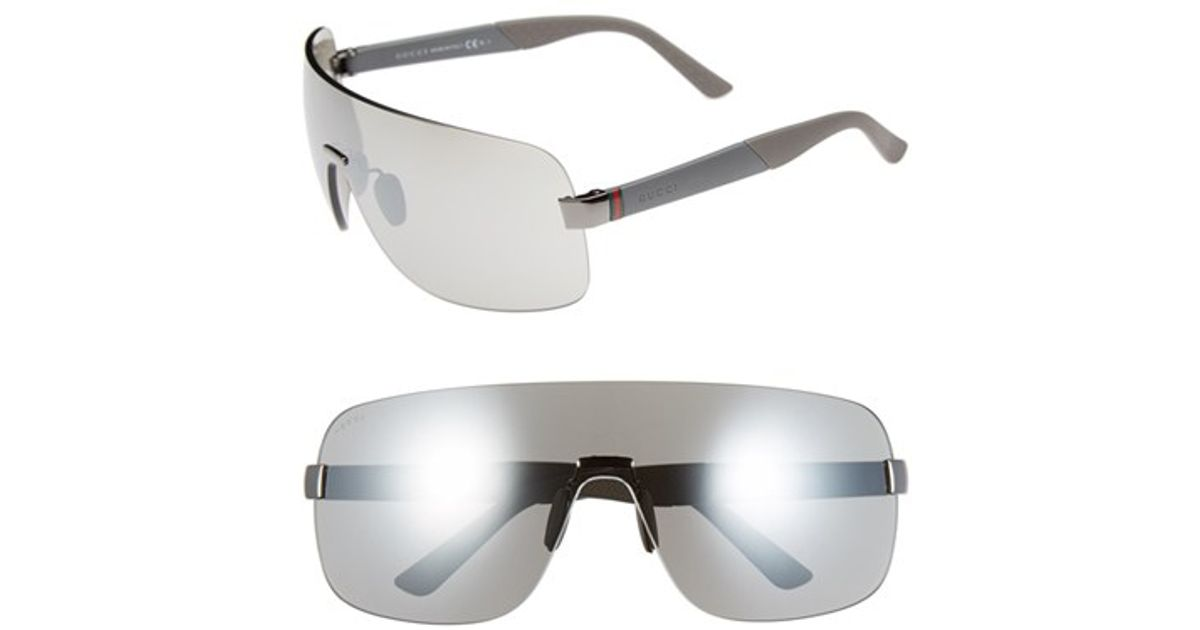 14dee0d8f783 Gucci Shield Sunglasses - Ruthenium Grey/ Silver Mirror in Gray for Men -  Lyst