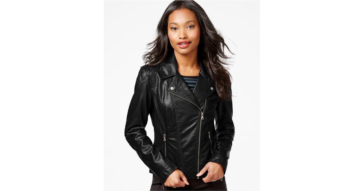 Celebrity pink Faux-leather Moto Jacket in Black | Lyst
