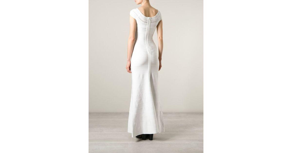 80d800988d78 Hervé Léger 'sophia' Bandage Gown in White - Lyst