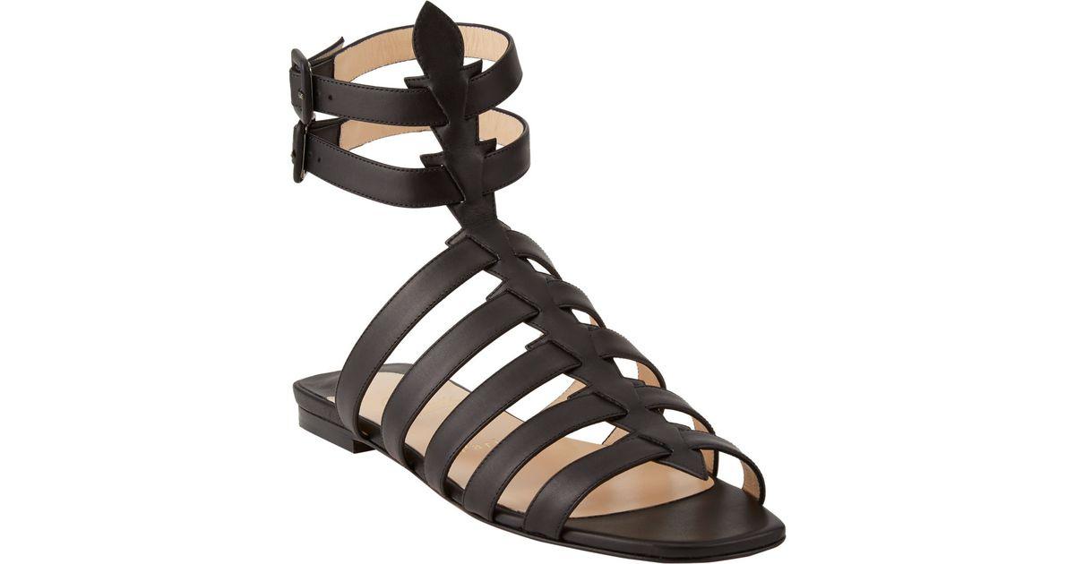 d396a0cdf5c Christian Louboutin Neronna Flat Gladiator Sandals in Black - Lyst