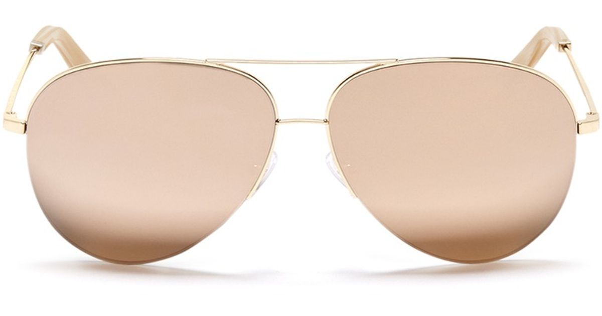 21833d262c6f1 Victoria Beckham  classic Victoria  18k Gold Mirror Aviator Sunglasses in  Metallic - Lyst