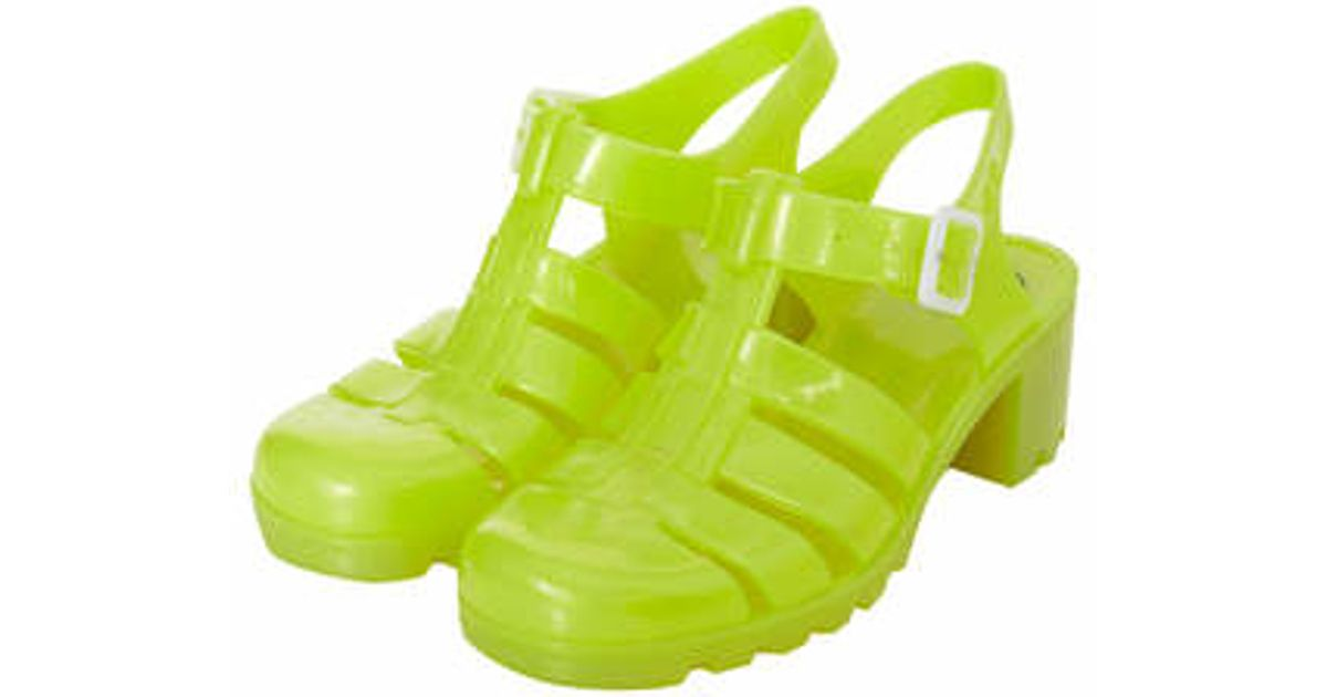 128ae39a25dd Lyst - TOPSHOP Juju Nina Heeled Jelly Sandals in Green