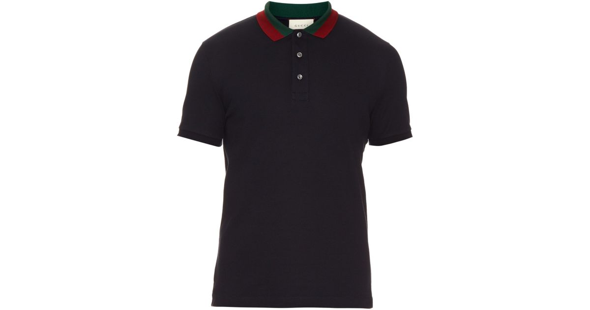f65a744d79d3 Lyst - Gucci Floral-embroidered Cotton-blend Polo Shirt in Black for Men