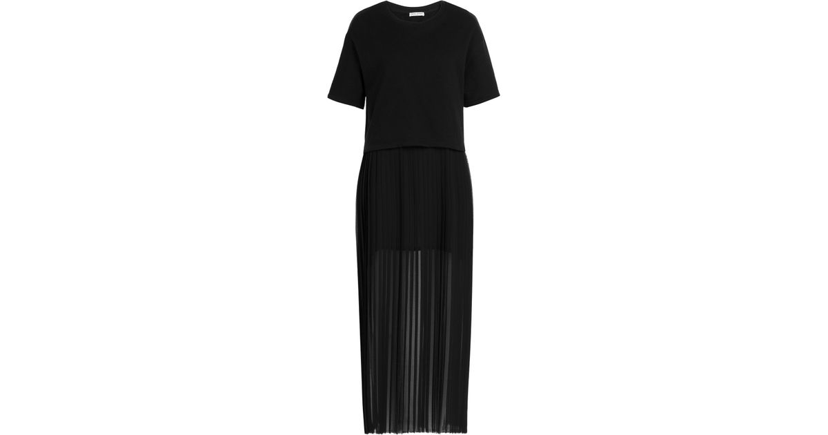 Each x other cotton t shirt dress with pleated skirt in for Black pleated dress shirt
