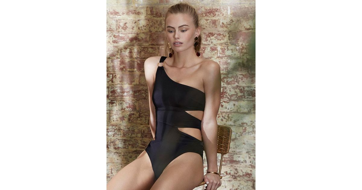 66fce0d9881f8 Bluebella Samar One Shoulder Cut Out Swimsuit in Black - Lyst