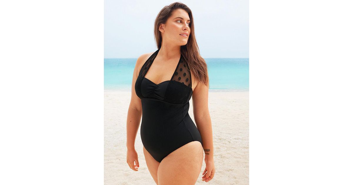 31c39f194 Figleaves Icon Spot Mesh Underwired Shaping Halter Black Swimsuit D-g Cup  in Black - Lyst