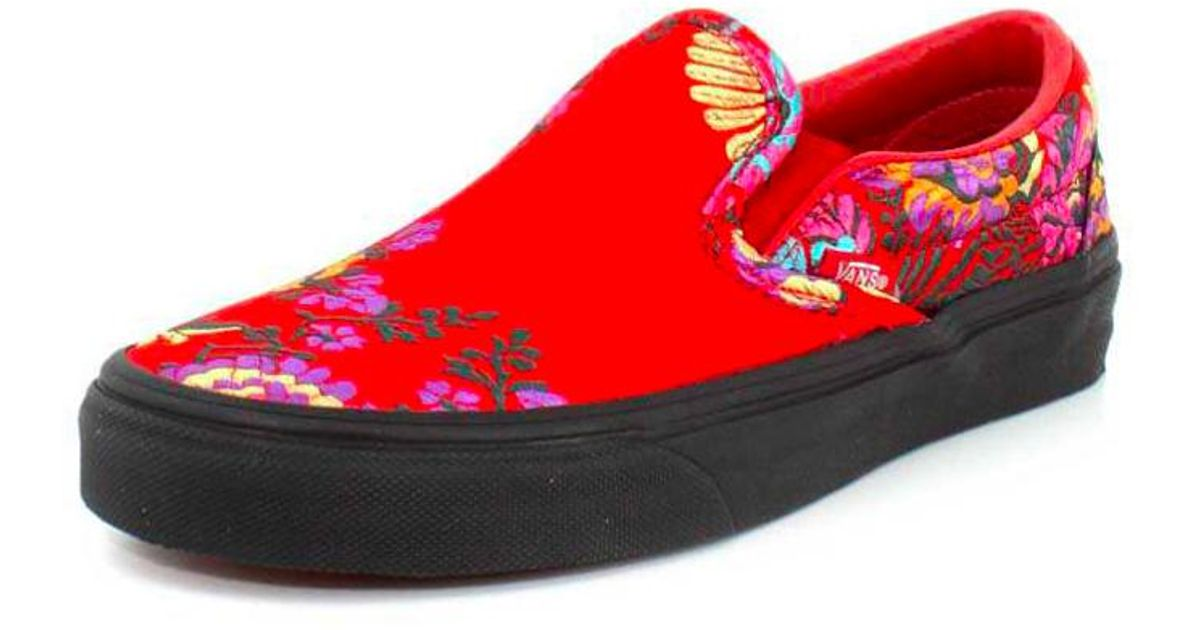 5b0051c566ebd2 Lyst - Vans Classic Slip On Festival Satin Womens Red Trainers in Red -  Save 3%