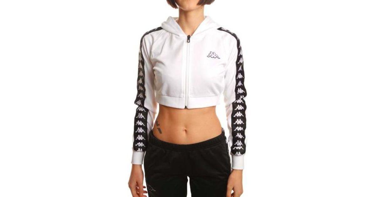 f1354b37895 Kappa Women 222 Banda Arakli Crop Hooded Jacket, White/ Black in White -  Lyst