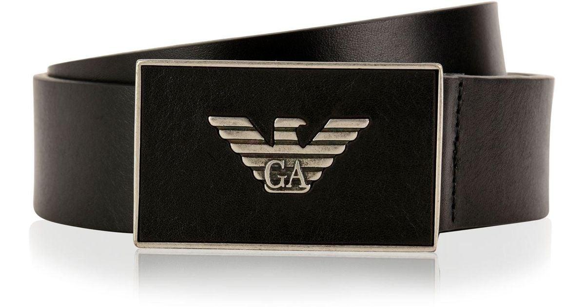 emporio armani logo plate belt in black for men lyst