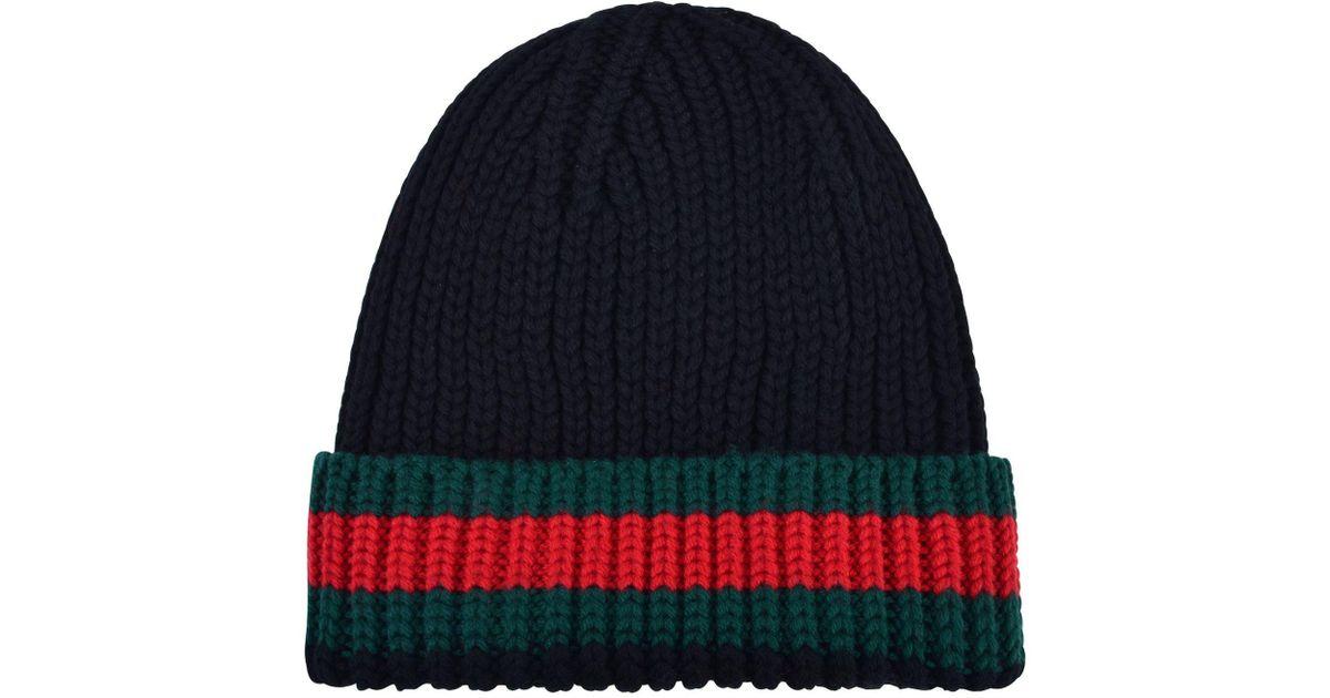 da4685672daba Gucci Web Trim Beanie Hat in Black for Men - Lyst