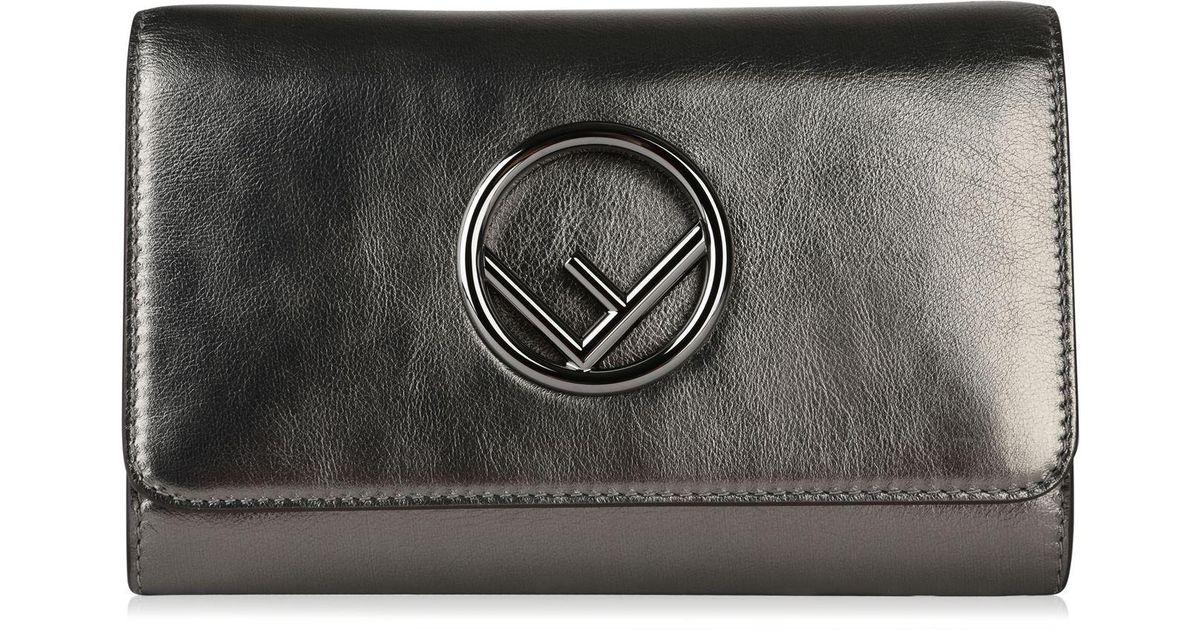 348100ea7814 Lyst - Fendi Metallic Chain Logo Body Bag in Metallic