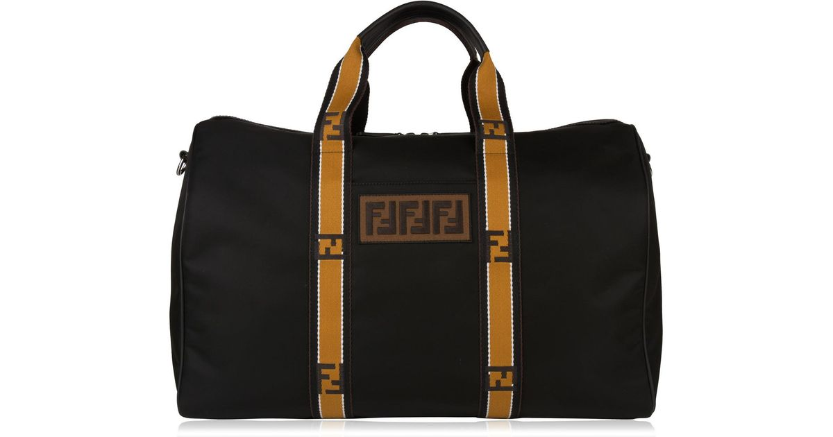 50195bab363b Fendi Logo Tape Duffle Bag in Black for Men - Lyst