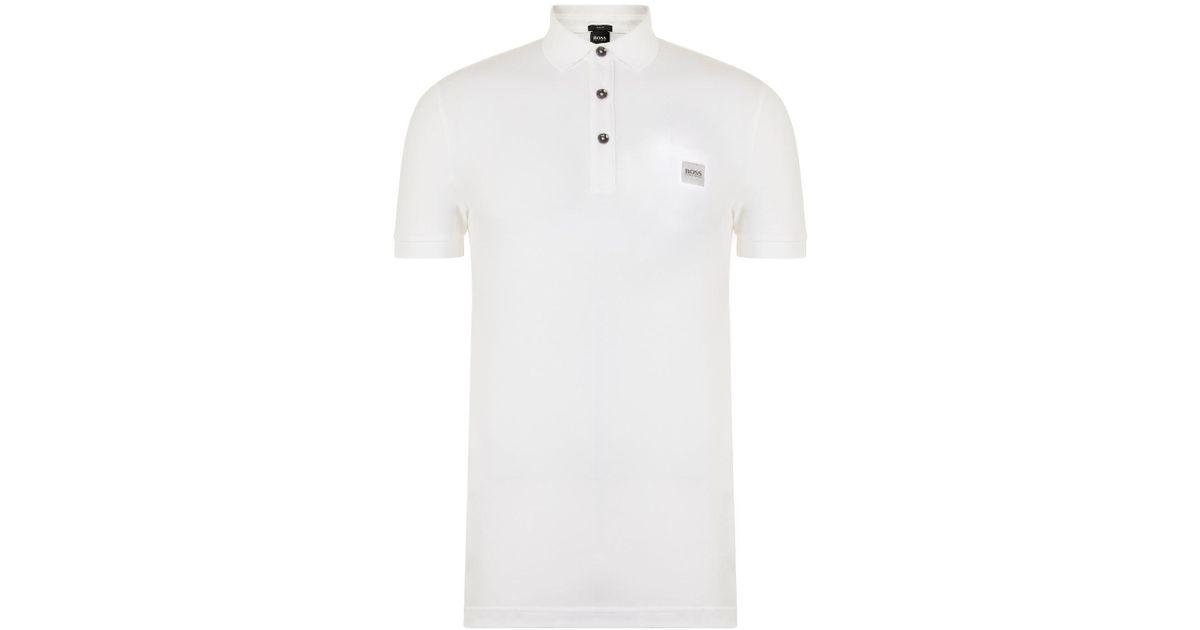 02b699285 BOSS by Hugo Boss Logo Polo Shirt in White for Men - Lyst