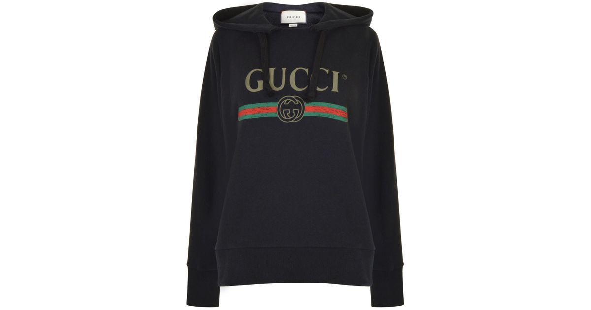 cf1357ec7 Lyst - Gucci Embroidered Fake Logo Hooded Sweatshirt in Black
