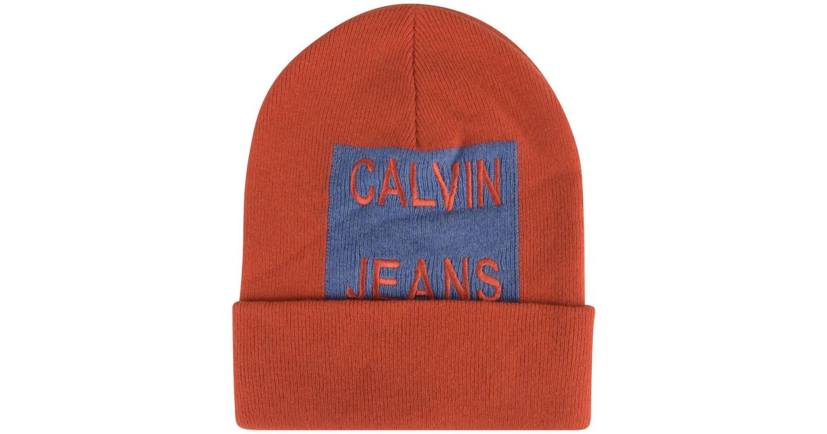 0b0d39d3c2e Lyst - Calvin Klein Large Patch Logo Beanie Hat in Red for Men
