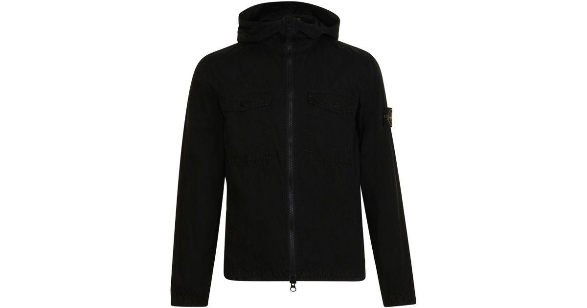 ecebd1fbbb55 Stone Island Brush Canvas Hooded Jacket in Black for Men - Lyst