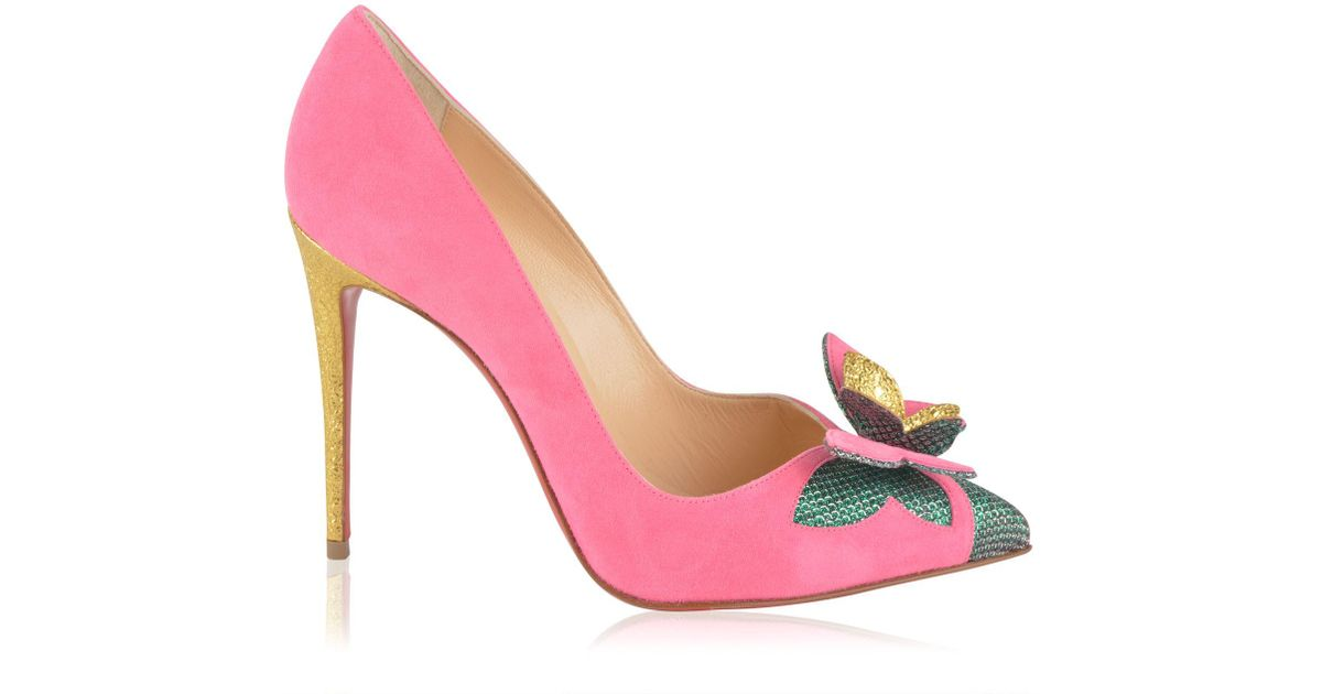 d4c4fcbac0a Christian Louboutin Suede Butterfly Court Heels in Pink - Lyst