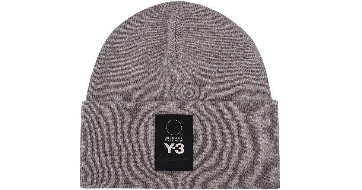 7eeff1e01cb Y-3 Logo Patch Beanie Hat in Gray for Men - Lyst