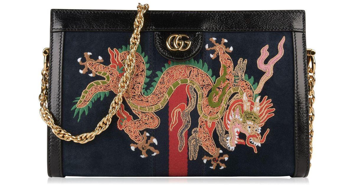 6af27357eff Lyst - Gucci Ophidia Dragon Embroidered Suede Shoulder Bag in Blue