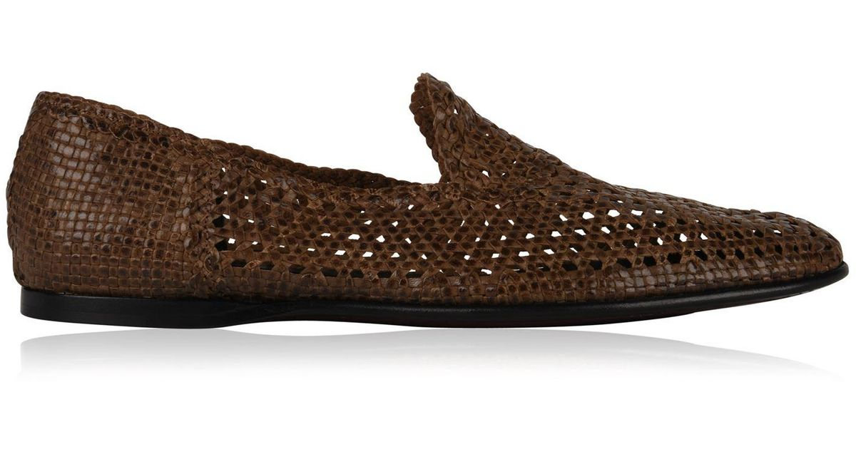 0f2f2f71b Lyst - Dolce & Gabbana Hand Woven Leather Loafers in Brown for Men