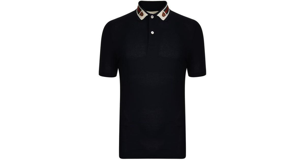 fe3f14210 Gucci Tiger Collar Polo Shirt in Black for Men - Lyst