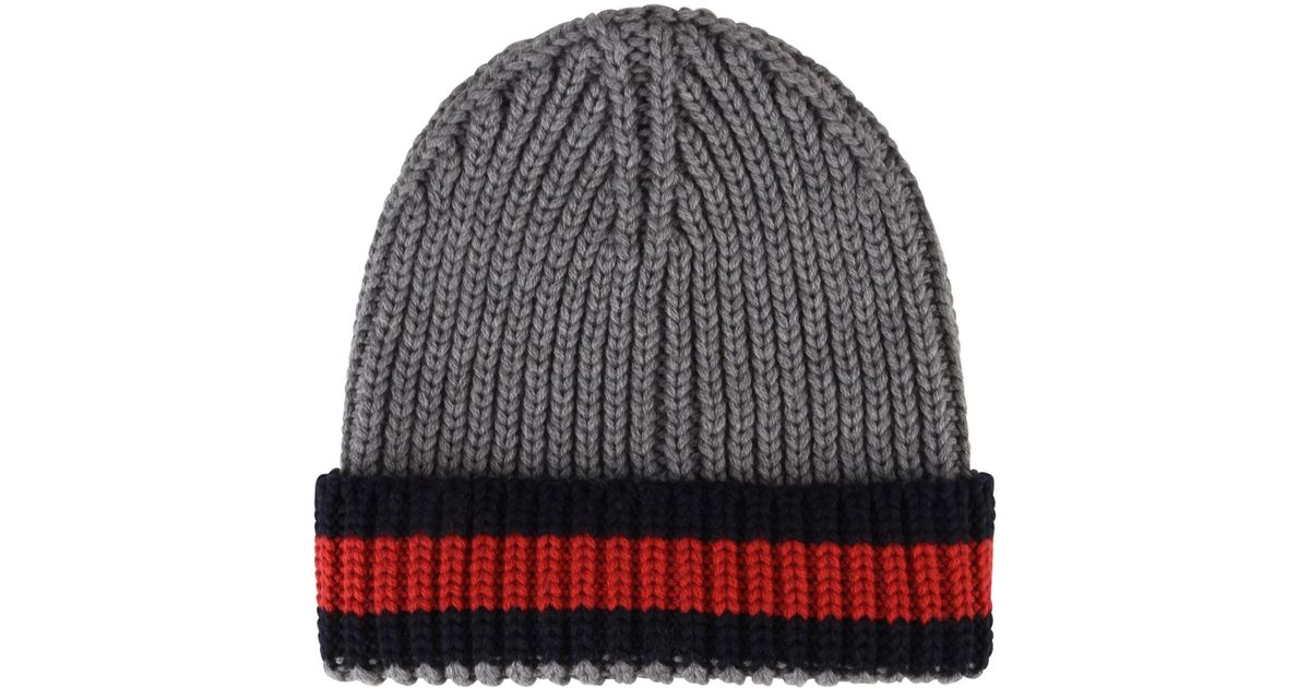 8d09c1a29e7 Lyst - Gucci Web Trim Beanie Hat in Gray for Men