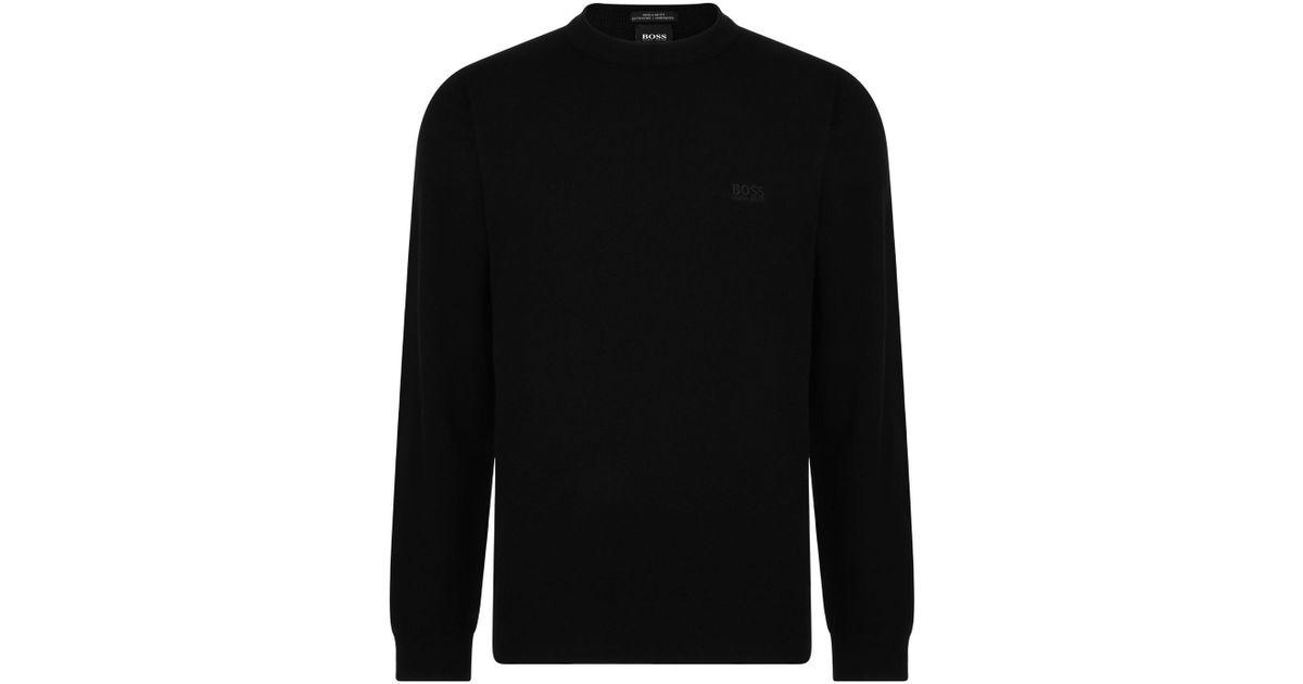 a5246f91af BOSS Egino Crew Knit Jumper in Black for Men - Lyst