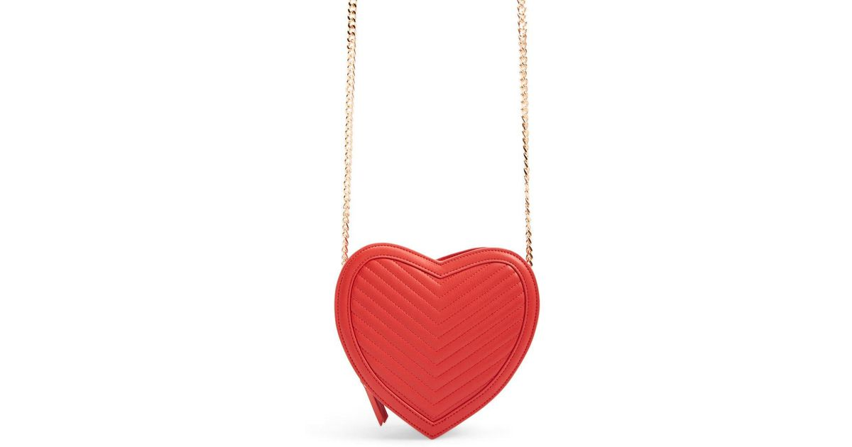 48d6157bb Forever 21 Faux Leather Heart Crossbody Bag in Red - Lyst