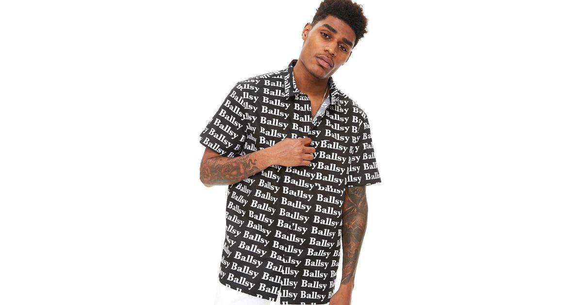 6faab072b3 Lyst - Forever 21  s Ballsy Graphic Shirt in Black for Men
